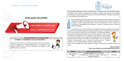 GUÍA TRANSVERSAL CON-CIENCIA PLÁSTICA GRADOS 10° y 11°